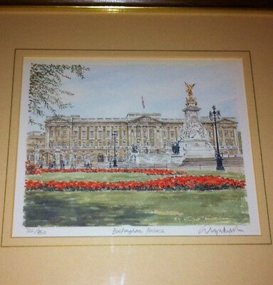 Limited Edition Print W/C Buckingham Palace Framed Signed Glyn Martin 766/850