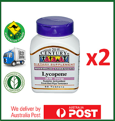 2x Lycopene, Maximum Strength 25 mg 120 Tablets by 21st Century - FAST SHIP AUS