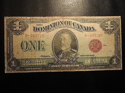1923 DOMINION OF NOTE CANADA $1 ONE DOLLAR DC-25e BRONZE SEAL GROUP 1 R-169720