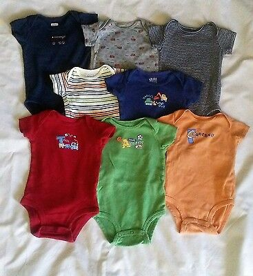 Baby Boy Bodysuits Lot of 8 sizes 0-3 months