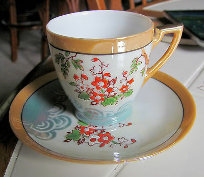 Antique HAND PAINTED Chikaramachi LUSTER WARE DEMITASSE Cup And Saucer Set Japan