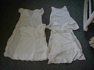 lot 5 vintage baby christening gowns or slips baby doll white tissue cotton
