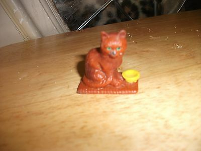 Vintage Bullyland Cat w/bowl Figurine - Hand Painted - Germany