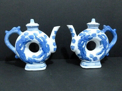 Teapot 2 Vintage Chinese Porcelain ( Blue/white/ Dragon/phoenix ) Marked 5890