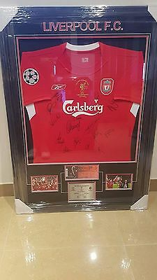 Liverpool Champions League 2005 Signed Framed Football Jersey Gerrard Alonso