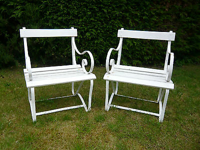 Pair Of Victorian Wood & Wrought Iron Country Garden Chairs
