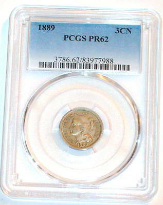 PCGS 1889 Three cent Nickel 3c PROOF 62 PR62