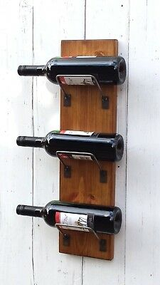 Chunky Solid Wood Rustic Wall mounted storage Wine holder bottle rack display
