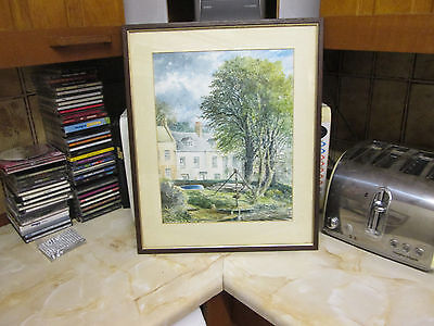 Local interest original vintage watercolour painting of March, Cambridgeshire