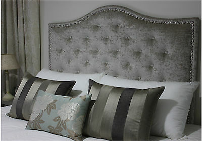Bed Head King Size Buttoned Upholstered Bedhead / Headboard With Chrome Studs