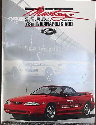 Collectible 1994 78th Indy 500 - Mustang Cobra Official Pace Car press kit