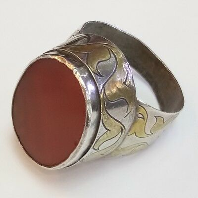 Rare Old Medieval Silver and Gold Plate Ring  Agate Stone Ring