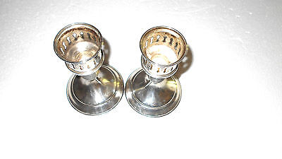Vintage Pair of Sterling Silver Weighted Small Candle Sticks Nice!
