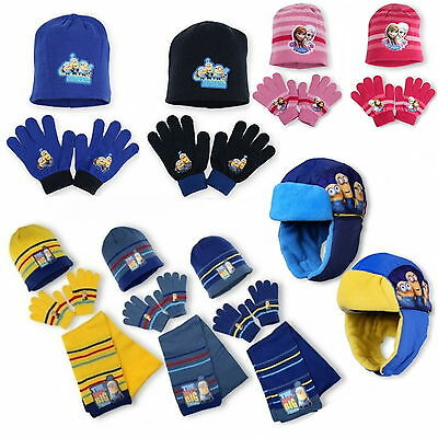 MINIONS HAT SCARF GLOVES Frozen Winter set One size DISNEY 52-54-56