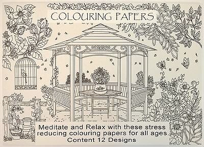 Colouring Papers - Each Pack Contains 12 Designs - Relax & Meditate