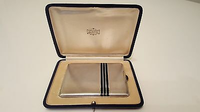 Solid Silver 935 and 18 kt gold w/enamel & cabochon Cigarette case w/box 152 grs