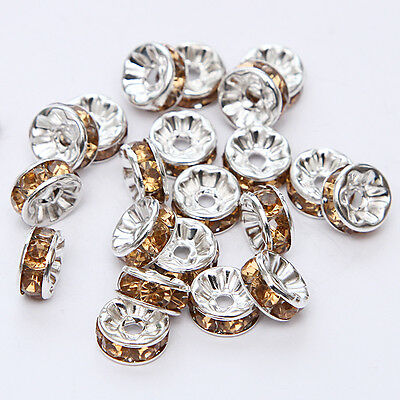 Jewelry Making 20pcs 8mm Plated silver crystal spacer beads FREE SHIPPING B&27