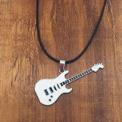 Unisex Fashion Stainless Steel Guitar White Pendant Leather Necklace Chain New#2