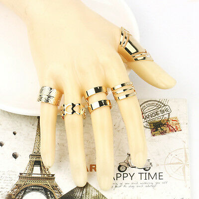 5 Pcs Women Lady 18K Gold Plated Knuckle Finger Ring Set Jewelry Party