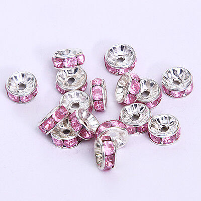Jewelry Making 20pcs 8mm Plated silver crystal spacer beads FREE SHIPPING B&24
