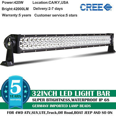32inch 420W CREE COMBO LED Work Light Bar Offroad Driving Lamp SUV Car Boat 4WD