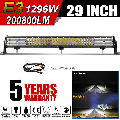 Quad Row 29inch CREE LED Work Light Bar Spot Flood Combo Car 4WD Driving Lamp 30