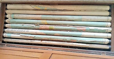 Antique Wood Hanging 1897 School Cabinet with 8  Roll Out Maps of the World