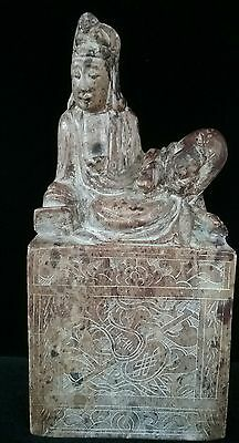 Antique Chinese Buddha Bodhisattva Quan Yin Hard Stone Carved Statue Meuseum
