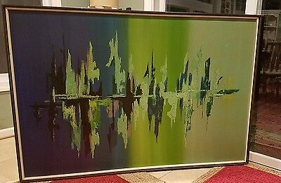 Original oil on canvas painting abstract Carlo of Hollywood MCM signed WOW!