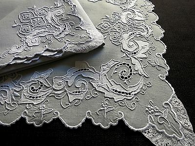 ELABORATE Vtg MADEIRA Hand Embroidery 25 Pc Linen Placemat Set Wedding BRIDAL