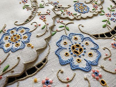 COLORFUL Antique MADEIRA Cutwork Hand Embroidery Tea Dessert Set 13 pc Placemats