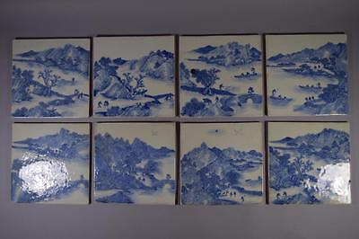 Set Of Eight Antique Chinese Porcelain Blue And White Plaques.