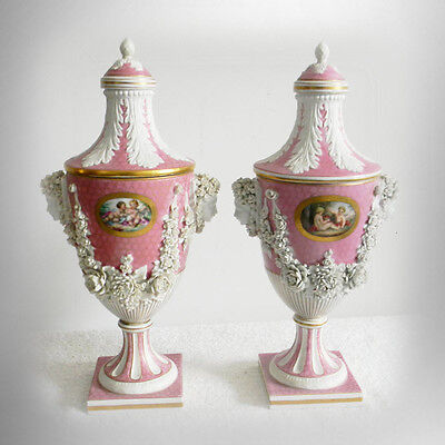 Pair vintage Sevres lidded urns with bisque garland rose wreaths - FREE SHIPPING