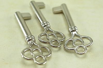 (Lot of 3) Vintage Style Open Barrel Skeleton Key Furniture Cabinet Silver Color