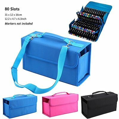 Marker Pen Case Bag Storage Carrying 80 Copic Portable Art  Slots Layer Holder