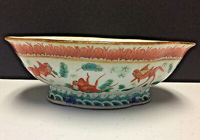 Antique Chinese Porcelain bowl Fish & bat Designs Marked Beautiful