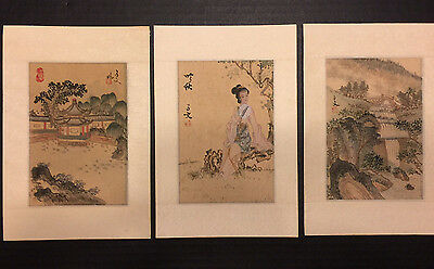 Antique Chinese Silk paintings Set of 3 Maiden Landscape & Pagoda