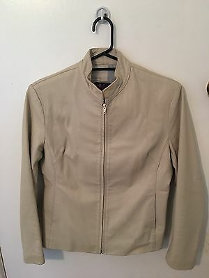 Emco Sz M Women's Beige Leather Jacket
