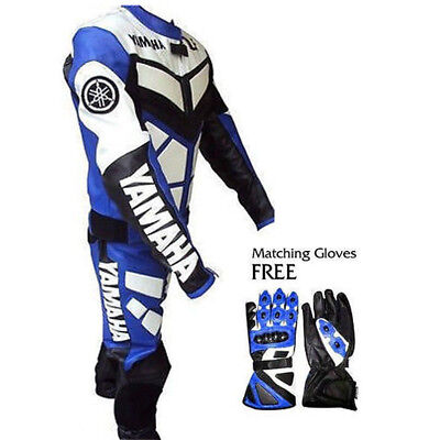 YAMAHA MOTORBIKE MOTORCYCLE RACING LEATHER SUIT SHOES and Free GLOVES Pack