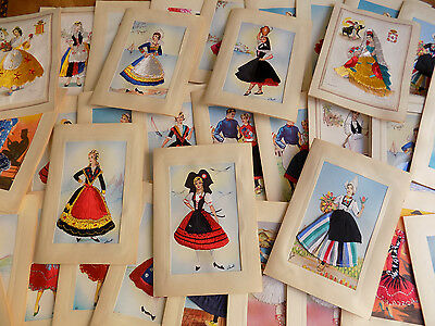 Large lot of 34 Vintage Embroidered Cards Ladies Greetings Birthday Get Well