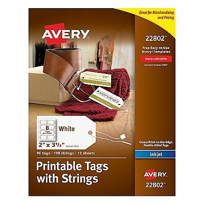 Avery Printable Tags Strings Inkjet Printers 2 x 3.5-Inches Pack Paper Fastener