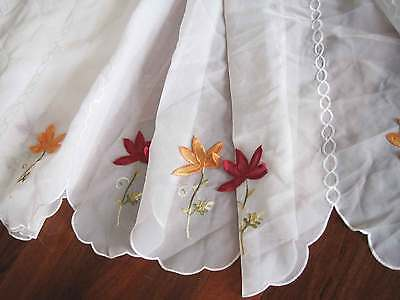 Pretty 3D Flower Embroidery White Sheer 50cm Drop Café Door Curtain Per Meter