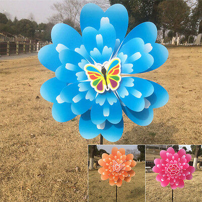 New Butterfly Peony Flower Colourful Wind Spinner Windmill Home Garden Decor