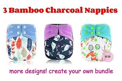 Cloth Nappy Bamboo Charcoal x 3 All-in-one (AIO) Heavy Wetter