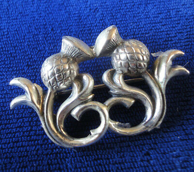 Thistle Brooch, Silver Double Thistle Brooch Vintage Celtic Scottish Brooch