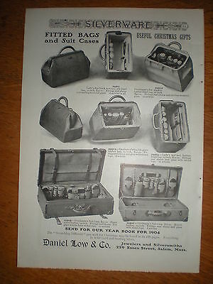 1903 Mens and Ladies 8 FITTED BAGS Leather or Pigskin SUITCASES Daniel Low AD