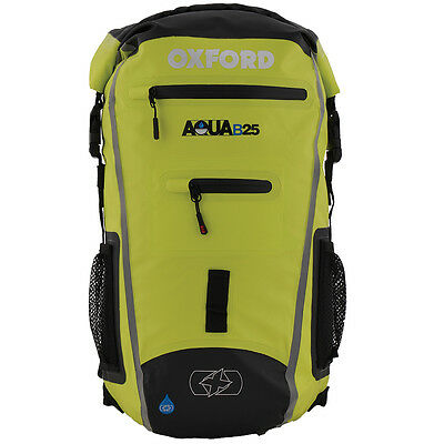 Oxford Aqua B25 Motorcycle Motorbike All-Weather Back Pack 25 Litre Black/Fluo