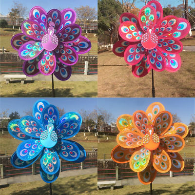 Double Layer Peacock Laser Sequins Windmill Colorful Wind Spinner Kids Toy New
