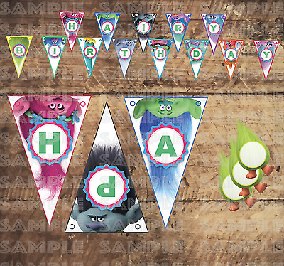 TROLLS MOVIE Birthday PARTY FLAG BANNERS Digital Printable File Downloads