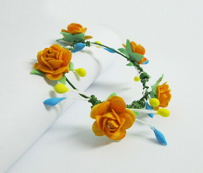 78eb21aac8be Yellow Gold Rose Flower Crown Headband Hair Accessories Handmade For Jenny  Doll